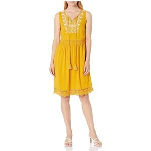 New Ella Moon Yellow Emorie Embroidered Dress